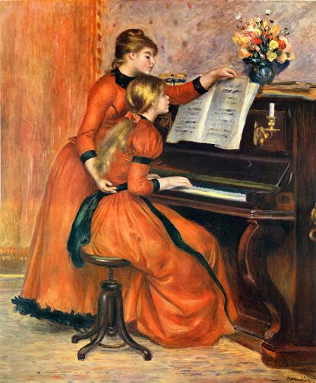 ピアノを弾く二人の少女