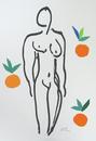 オレンジと裸婦