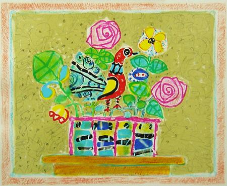 ベージュの背景の赤い鳥のいる花束