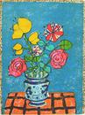 赤いバラと黄のチューリップのある花束