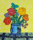 黄色い背景の赤いバラと黄のチューリップ