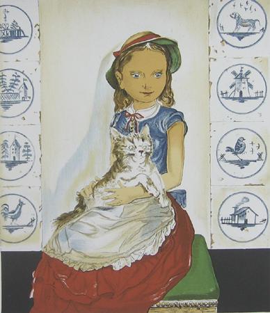 猫と座る少女
