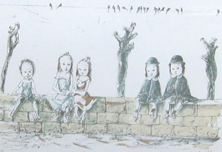 堀の上の子供達とツバメ