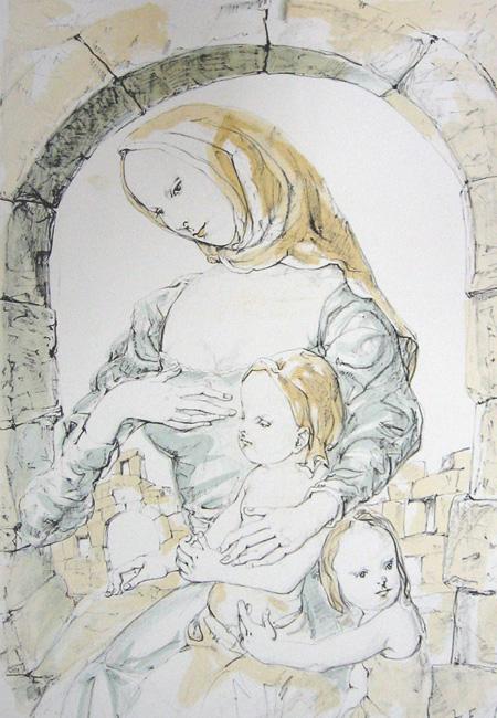 アーチの下の母と二人の子